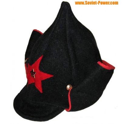 Ruso RKKA rojo ejército sombrero negro BUDENOVKA orejas largas