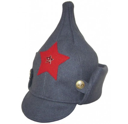 Russian Red Army gray hat BUDENOVKA with long ears