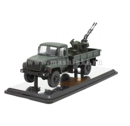 Russian HANDMADE scale model 1/43 Soviet military truck G-3308 with ZU-23-2 autocannon