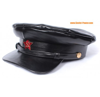 Soviet military Officer black leather Russian revolution hat
