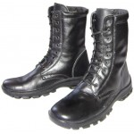 Black leather tactical Russian airsoft high boots
