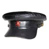 Soviet military Officer black leather hat