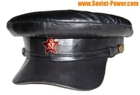 Soviet military Officer black leather hat for sale - buy online d5c46b5a4ef