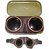 Russian Air Force pilot leather goggles with metal case