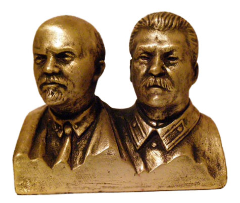 Bronze bust of Russian leaders - Lenin and Stalin