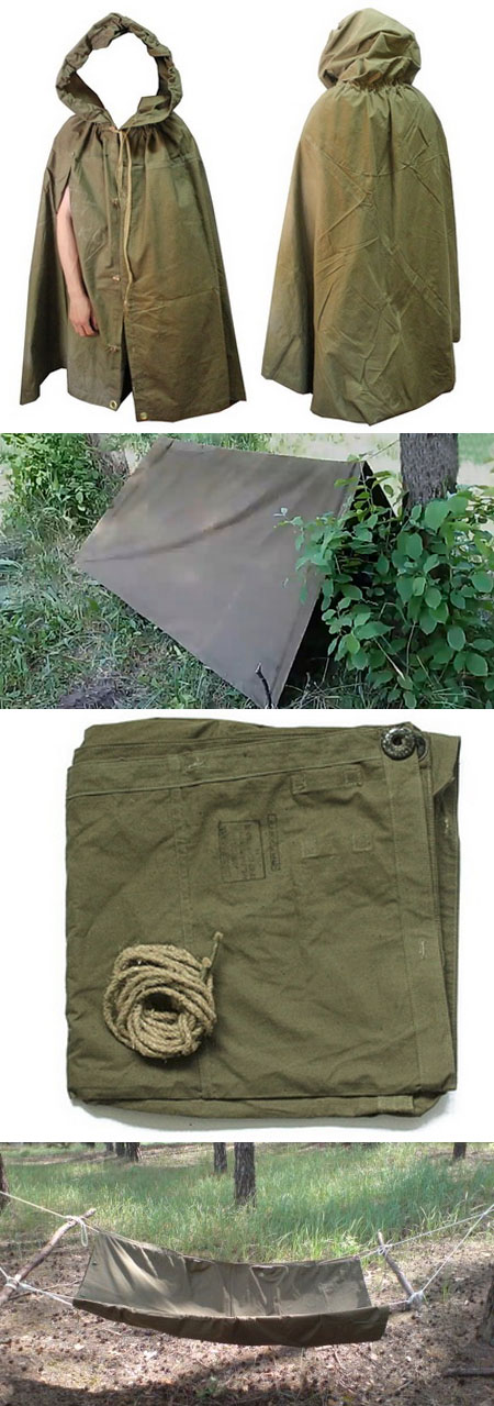 Soviet Military GROUNDSHEET (tent + raincoat)
