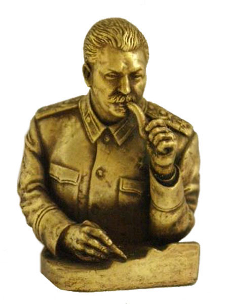 Joseph Stalin with pipe Russian bronze bust