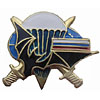 Russia Army VDV PARATROOPER Metal BADGE Bat & RUS Flag