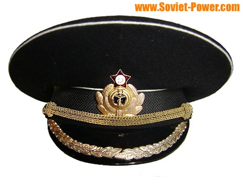 timeless design a2554 cb5c1 Soviet Naval Captain black visor hat